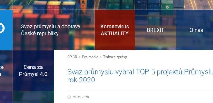 Umístění v TOP 5 projektech Průmyslu 4.0 v ČR